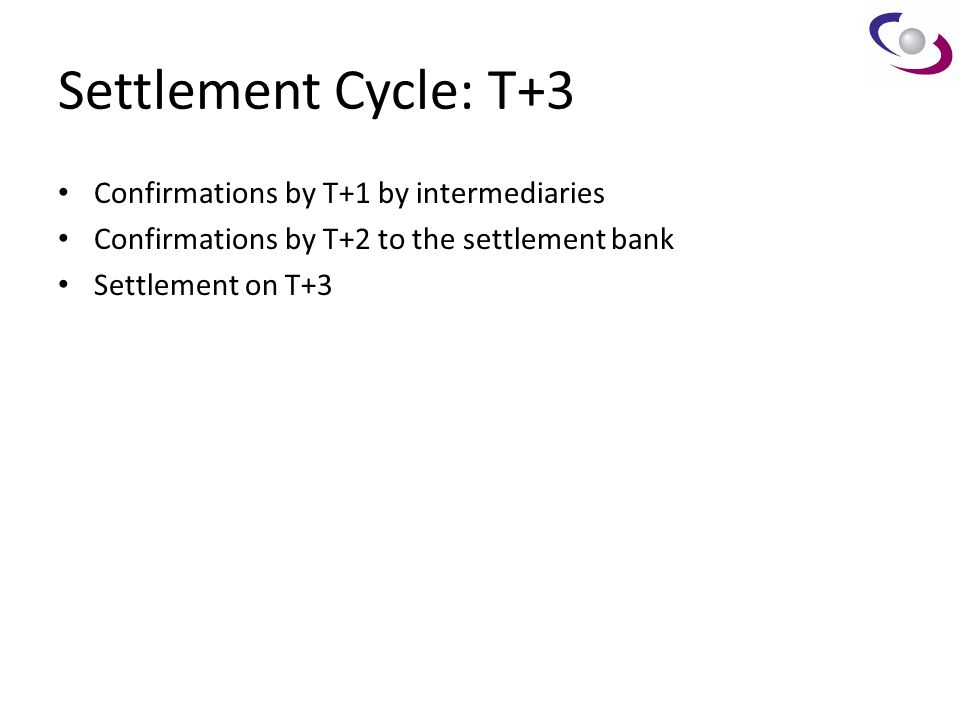 Settlement Cycle: T+3 Confirmations by T+1 by intermediaries