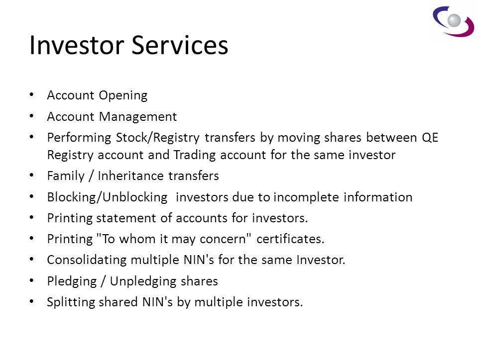 Investor Services Account Opening Account Management
