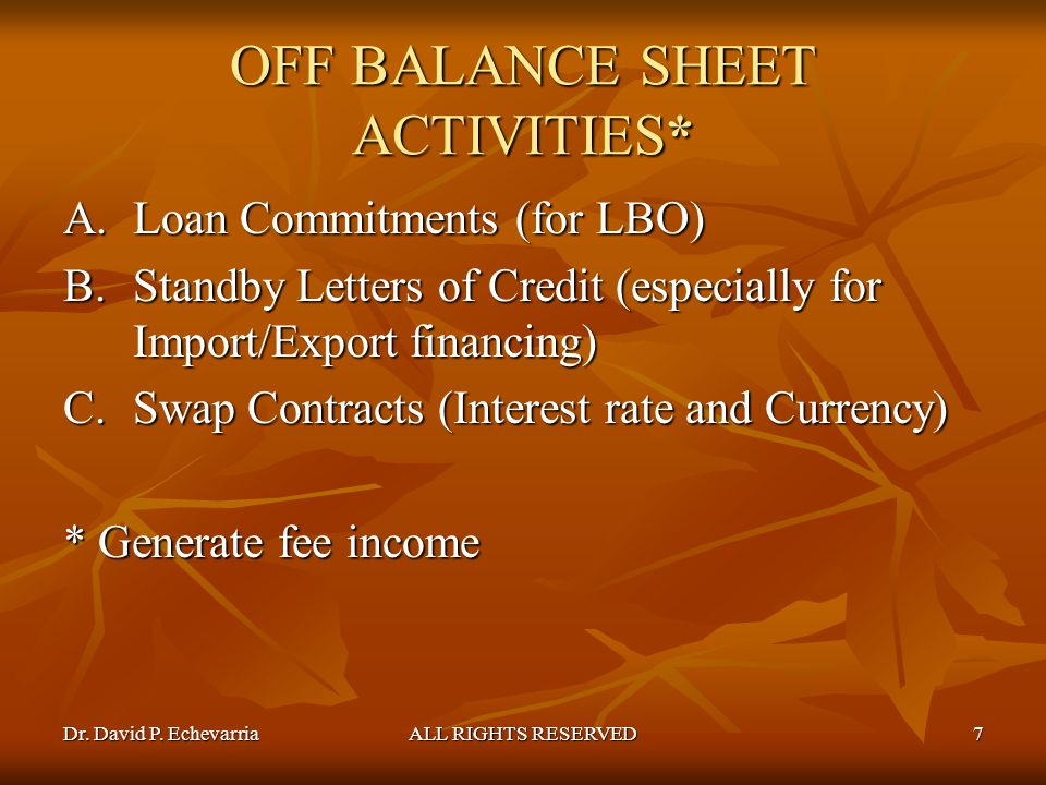 OFF BALANCE SHEET ACTIVITIES*