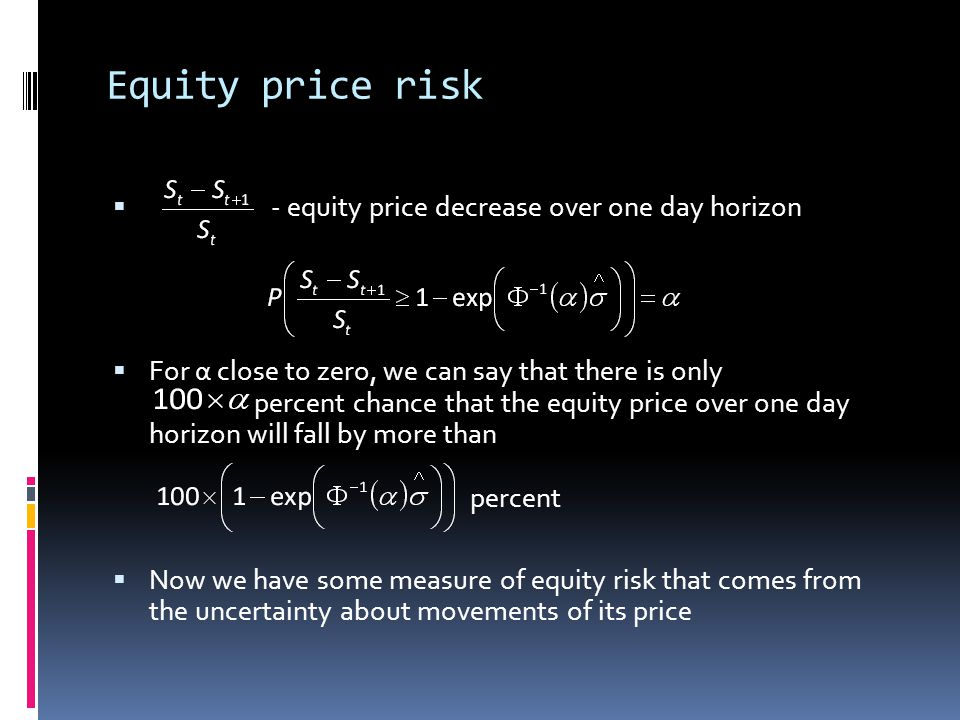 Equity price risk - equity price decrease over one day horizon