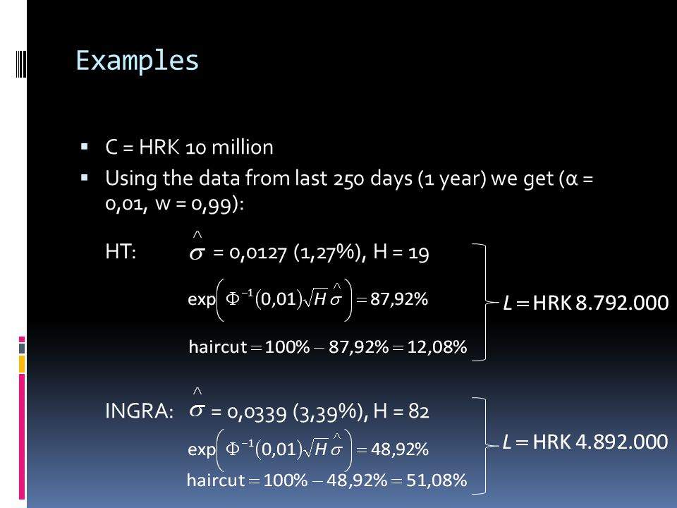 Examples C = HRK 10 million