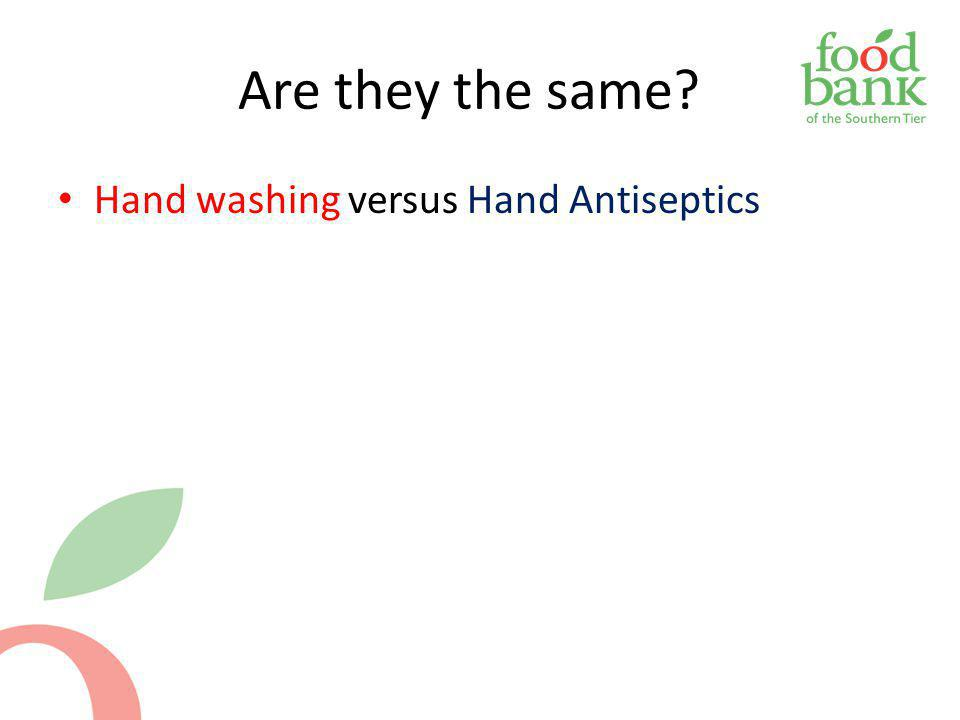 Are they the same Hand washing versus Hand Antiseptics