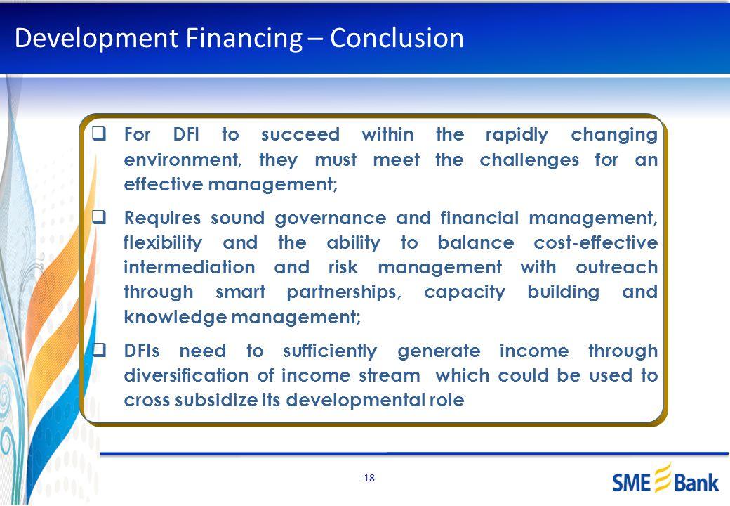 Development Financing – Conclusion