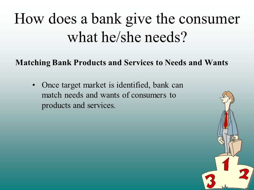 How does a bank give the consumer what he/she needs