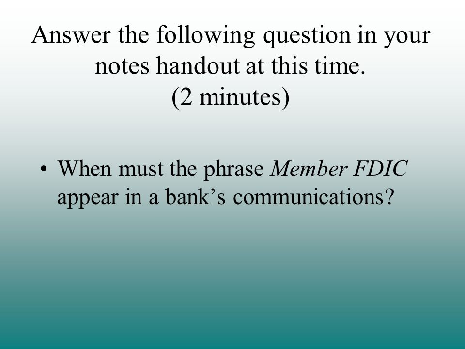 Answer the following question in your notes handout at this time