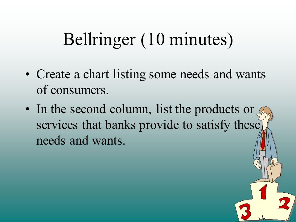 Bellringer (10 minutes) Create a chart listing some needs and wants of consumers.