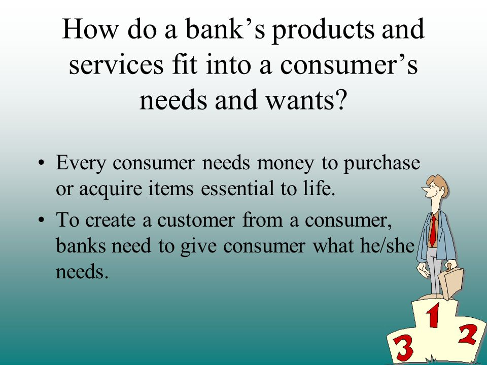 How do a bank's products and services fit into a consumer's needs and wants