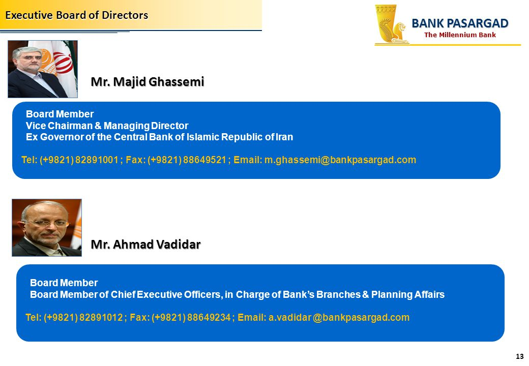 BANK PASARGAD Mr. Majid Ghassemi Mr. Ahmad Vadidar
