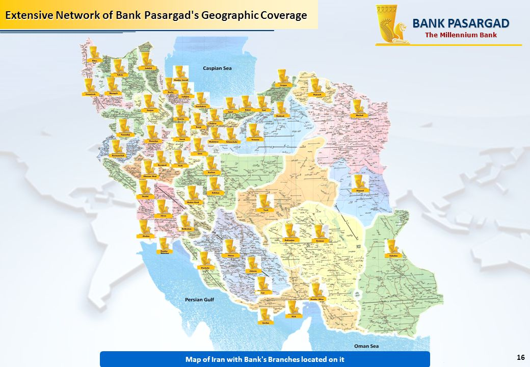 Map of Iran with Bank s Branches located on it