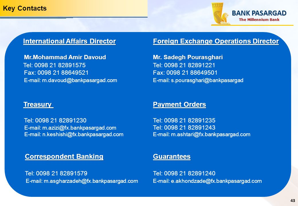 BANK PASARGAD Key Contacts