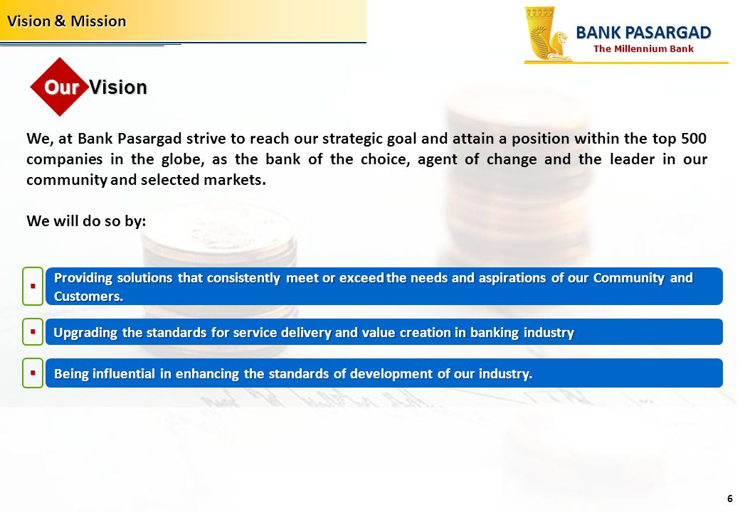 BANK PASARGAD Our Vision Vision & Mission