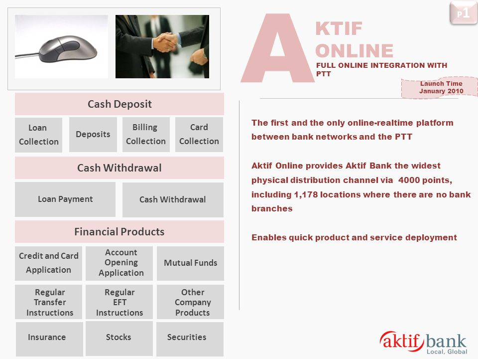 A KTIF ONLINE Cash Deposit Cash Withdrawal Financial Products P1 Loan