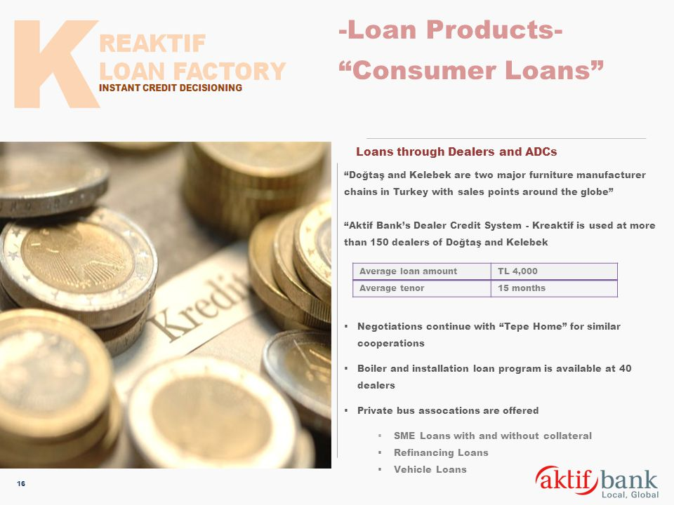 -Loan Products- Consumer Loans Loans through Dealers and ADCs