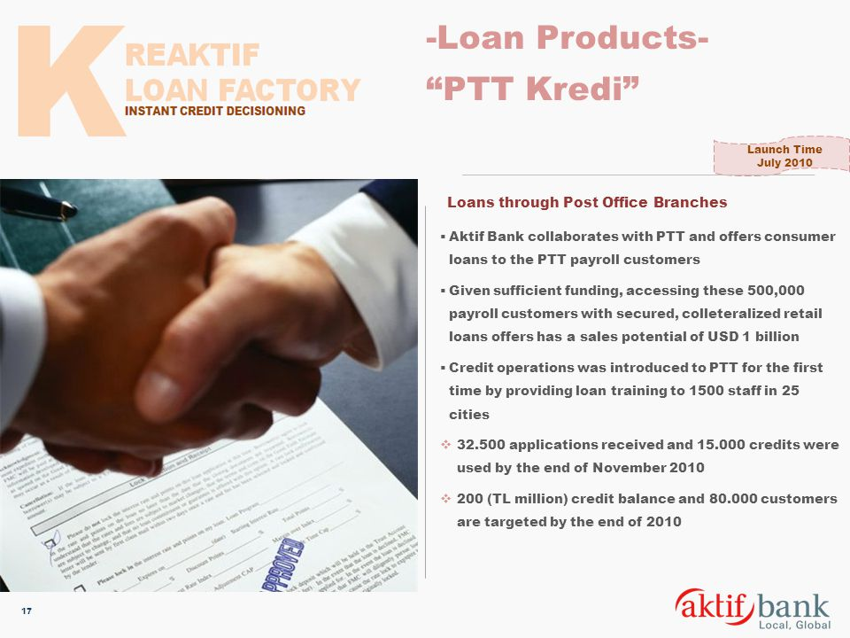 -Loan Products- PTT Kredi Loans through Post Office Branches