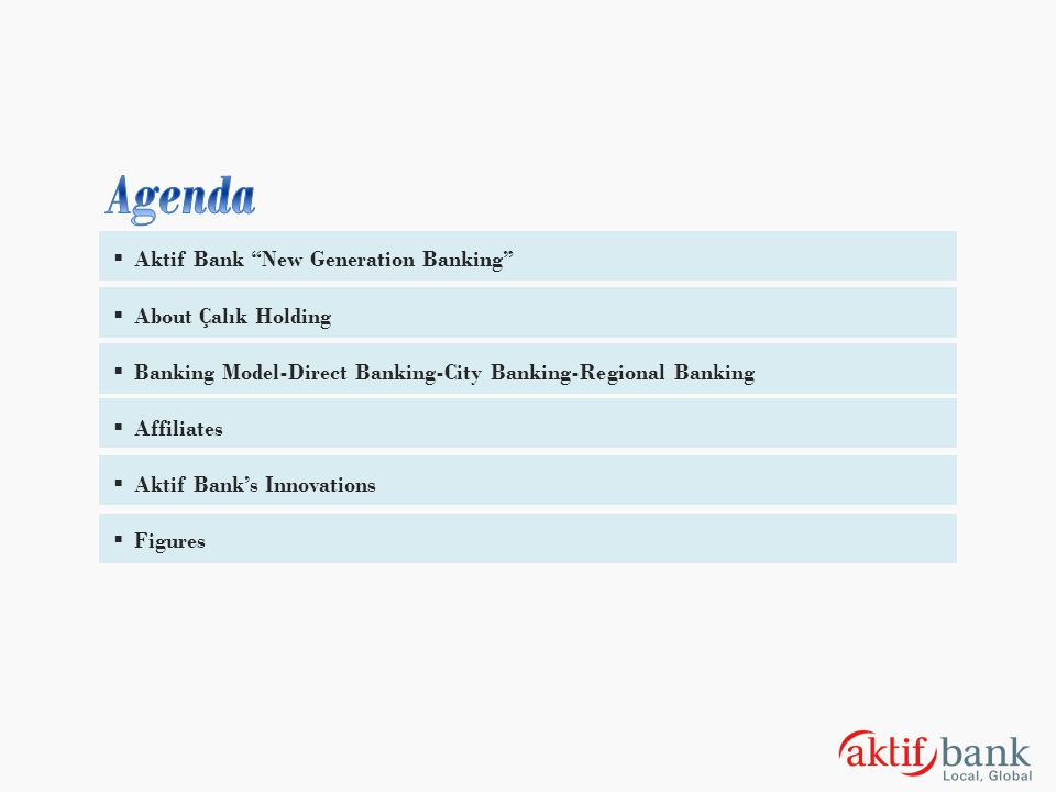 Agenda Aktif Bank New Generation Banking About Çalık Holding