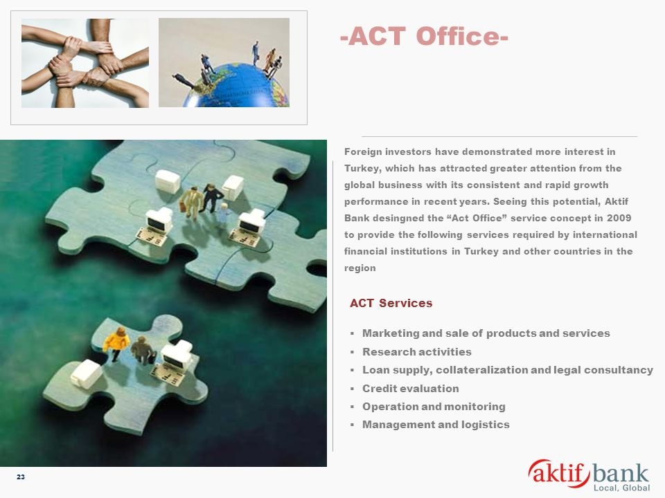 -ACT Office- ACT Services Marketing and sale of products and services