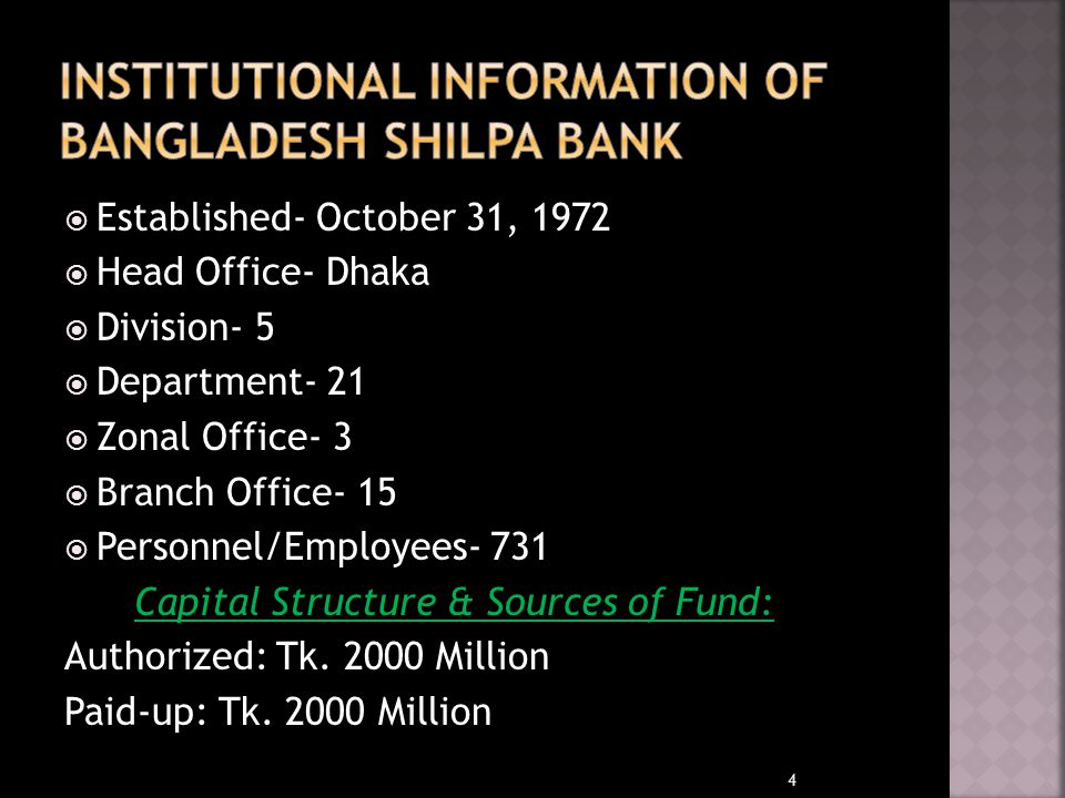 Institutional Information of Bangladesh Shilpa Bank