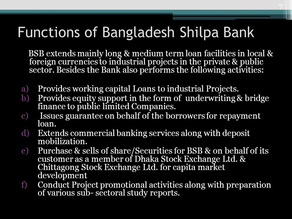 Functions of Bangladesh Shilpa Bank