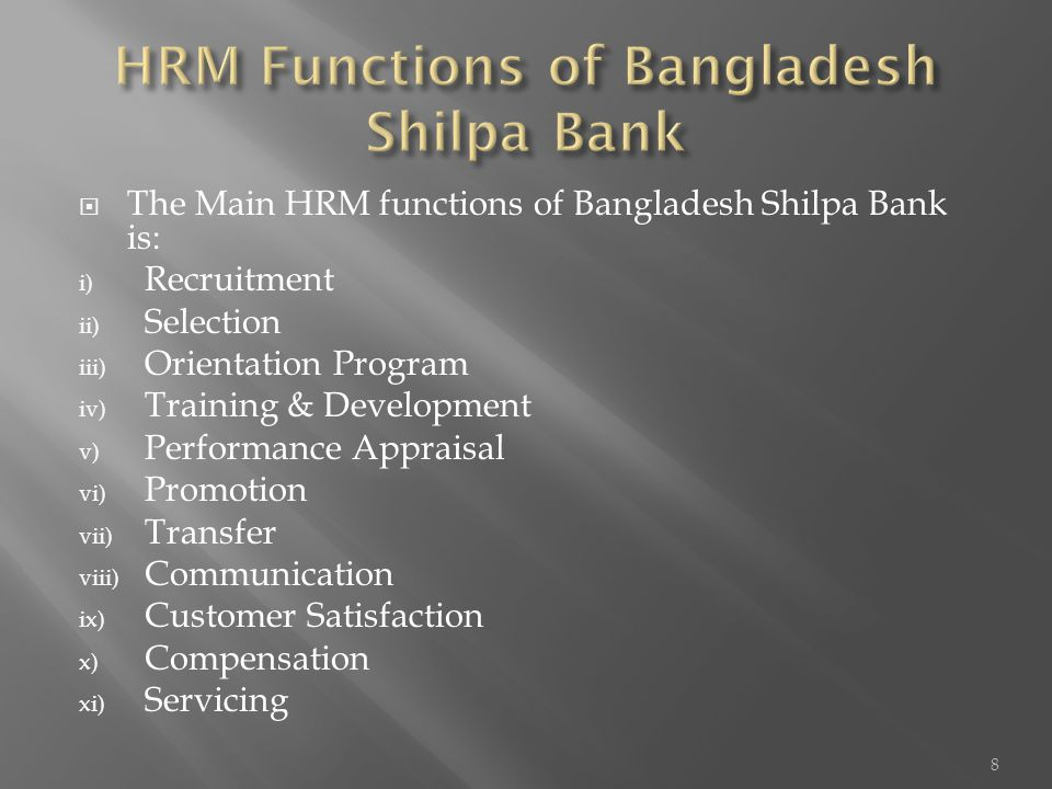 HRM Functions of Bangladesh Shilpa Bank