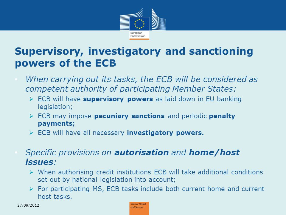 Supervisory, investigatory and sanctioning powers of the ECB
