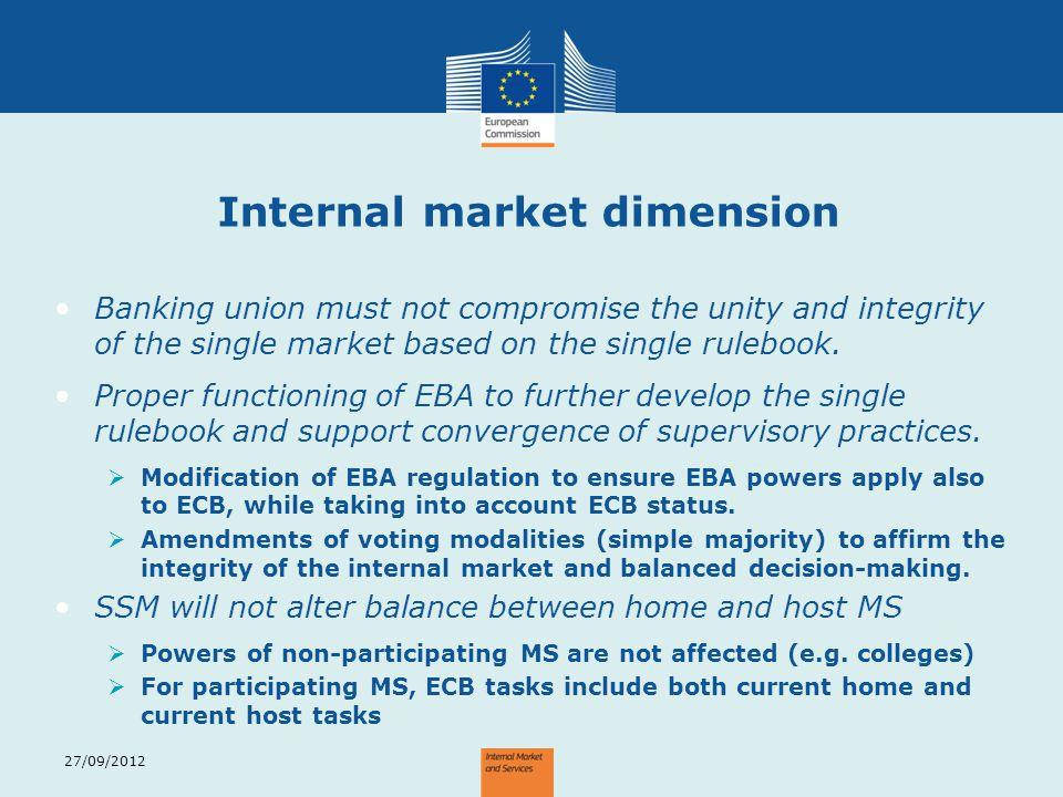 Internal market dimension