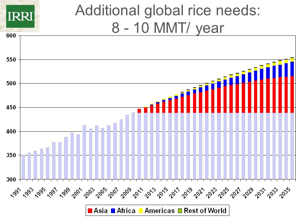 Additional global rice needs: 8 - 10 MMT/ year