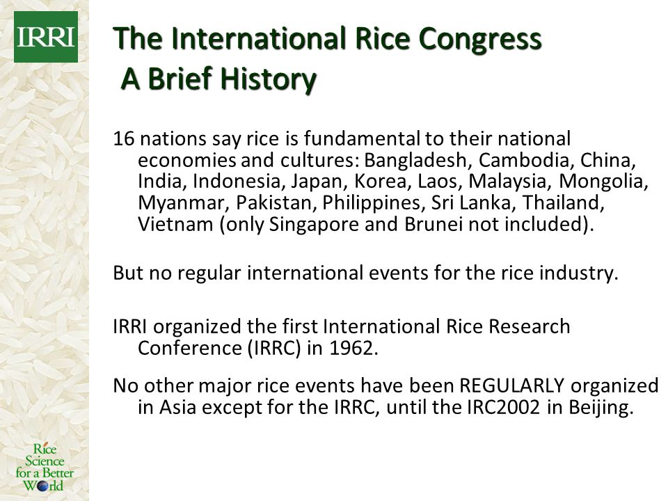 The International Rice Congress A Brief History