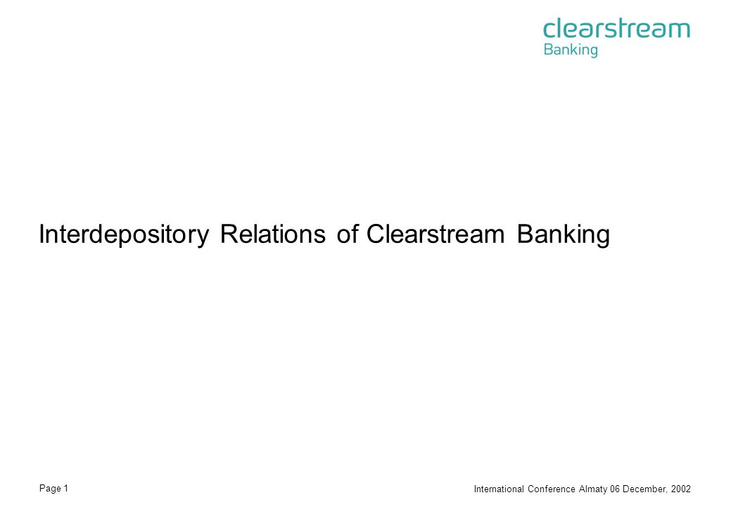 Interdepository Relations of Clearstream Banking