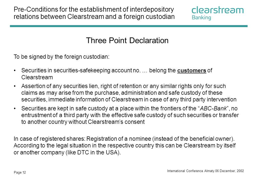 Three Point Declaration