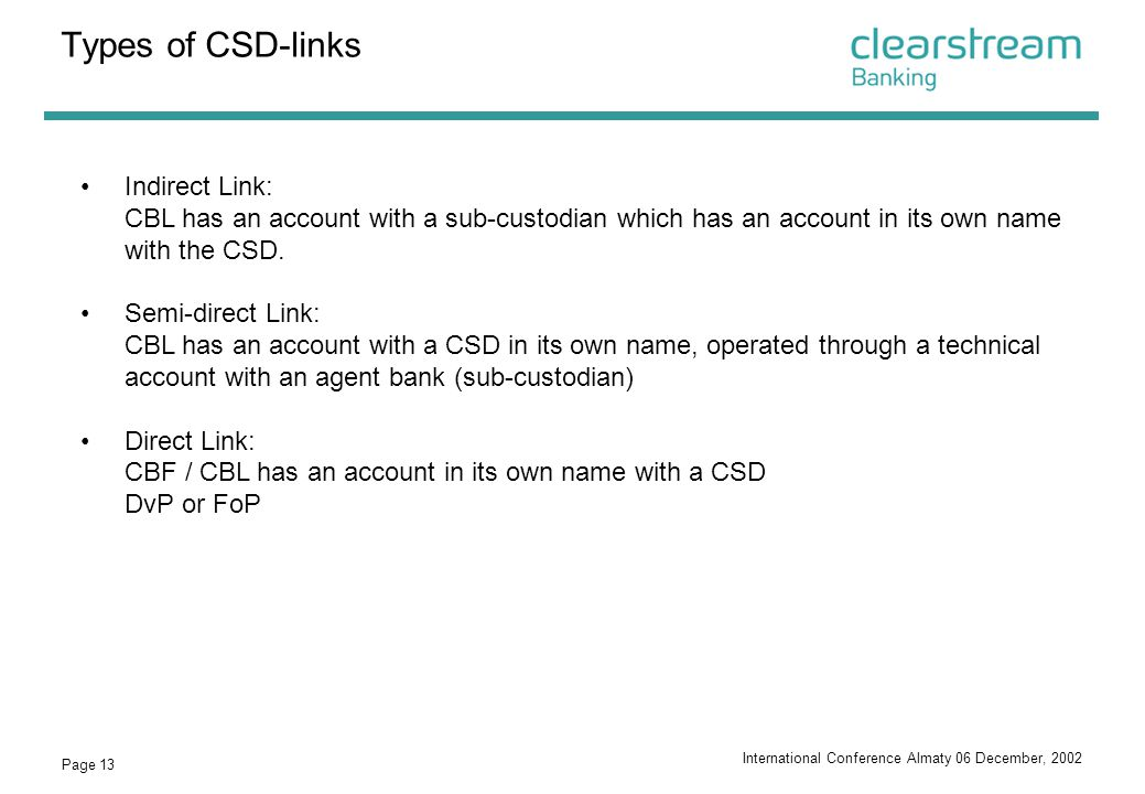 Types of CSD-links Indirect Link: