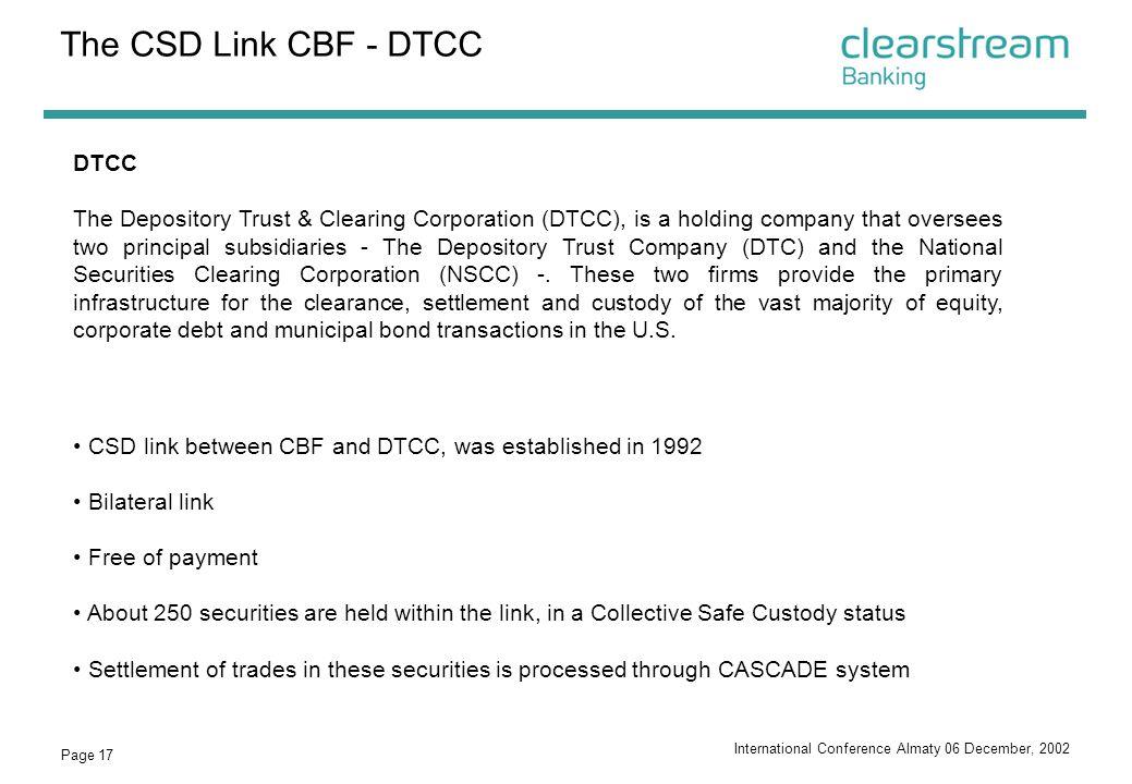 The CSD Link CBF - DTCC DTCC
