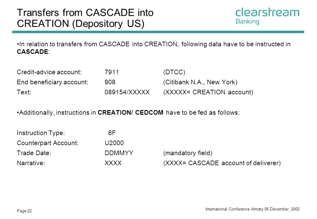 Transfers from CASCADE into CREATION (Depository US)