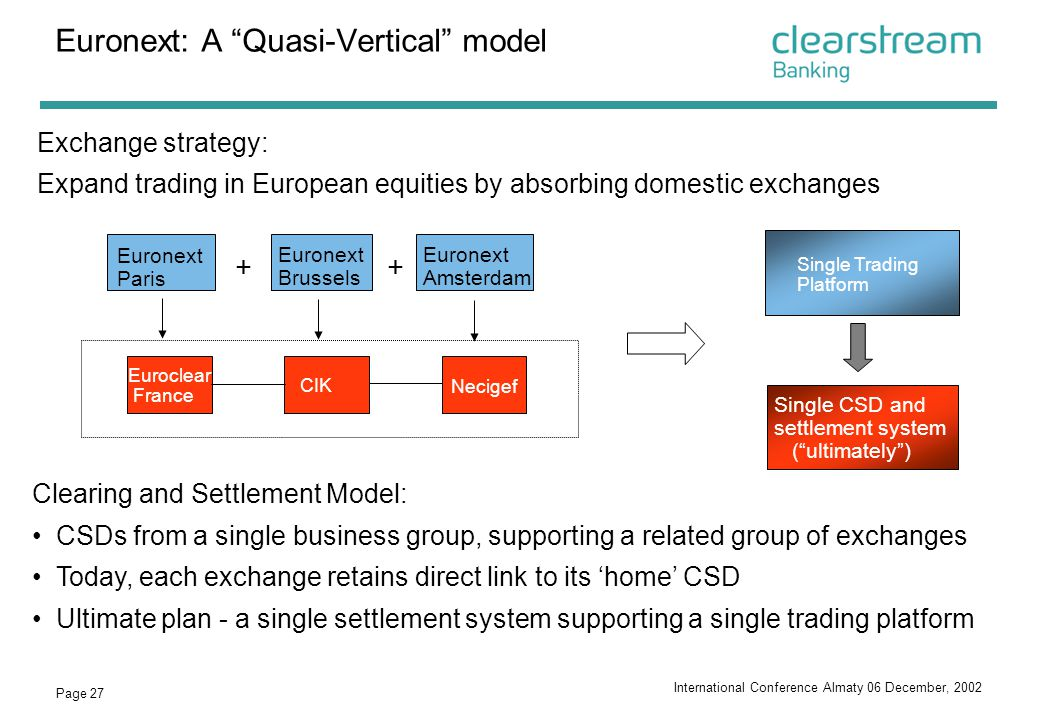 Euronext: A Quasi-Vertical model