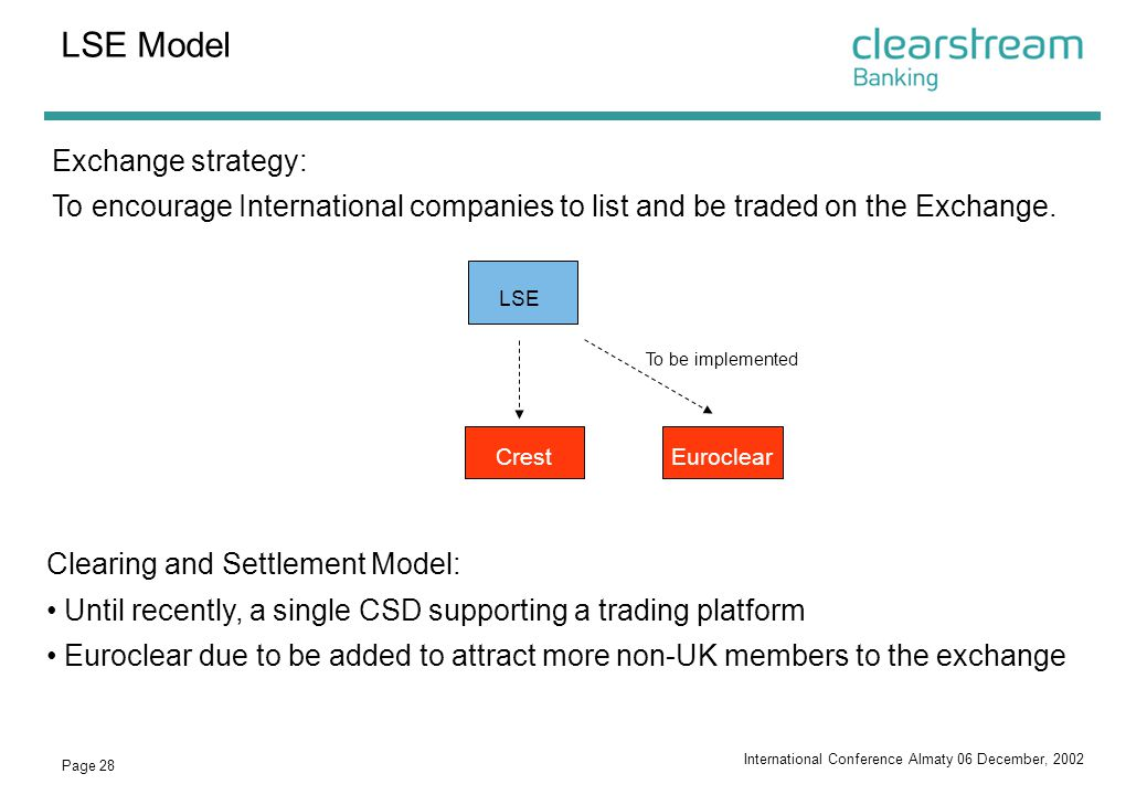LSE Model Exchange strategy: