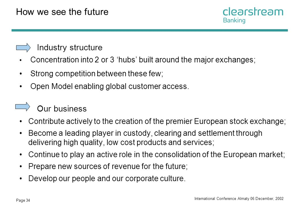 How we see the future Industry structure Our business