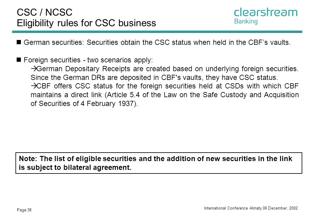 CSC / NCSC Eligibility rules for CSC business