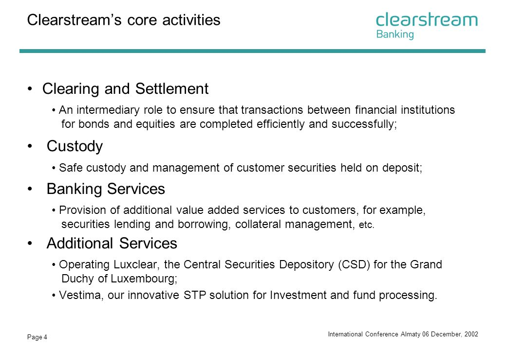 Clearstream's core activities