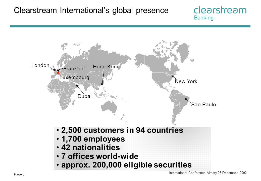 Clearstream International's global presence