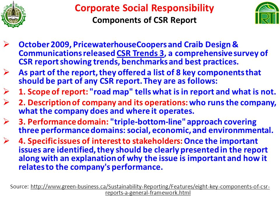 Corporate Social Responsibility Components of CSR Report