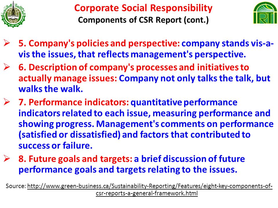 Corporate Social Responsibility Components of CSR Report (cont.)