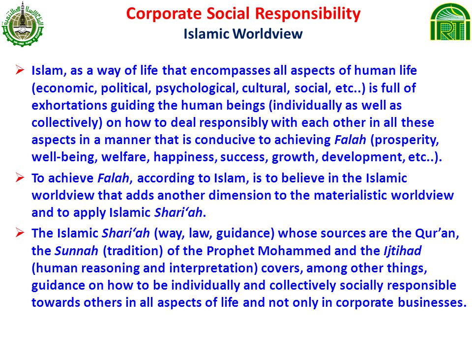 Corporate Social Responsibility Islamic Worldview