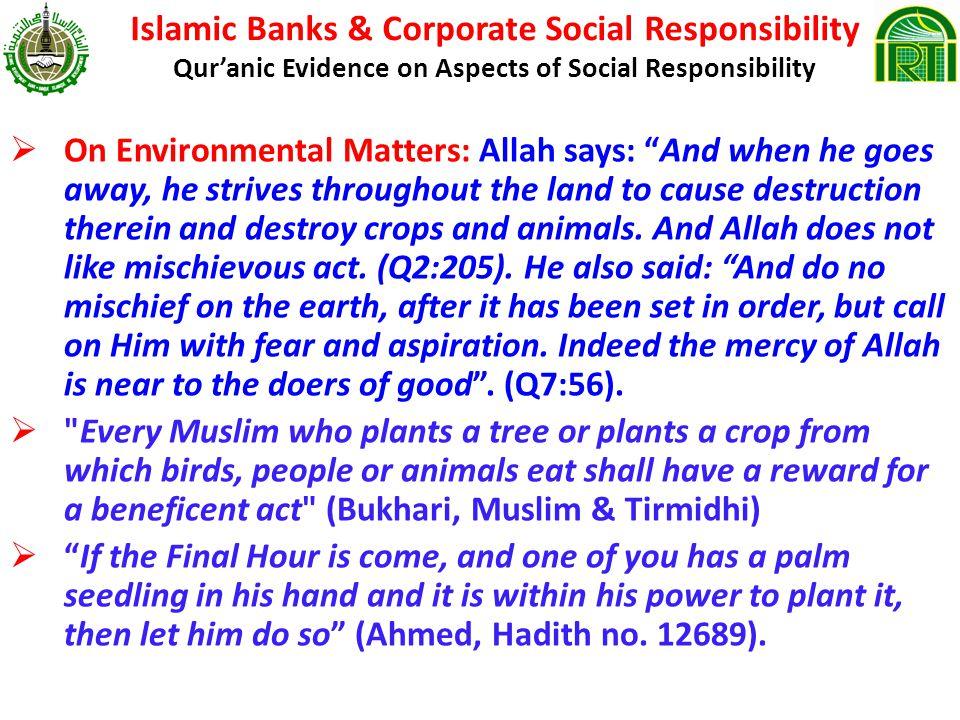 Islamic Banks & Corporate Social Responsibility Qur'anic Evidence on Aspects of Social Responsibility