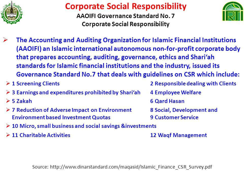 Corporate Social Responsibility AAOIFI Governance Standard No