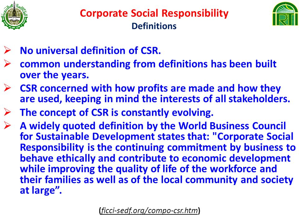understanding the concept of corporate social responsibility used by glencore 1 social responsibility and ethics 2describe the concept of corporate social responsibility and the primary premises them gain understanding and resolve issues.