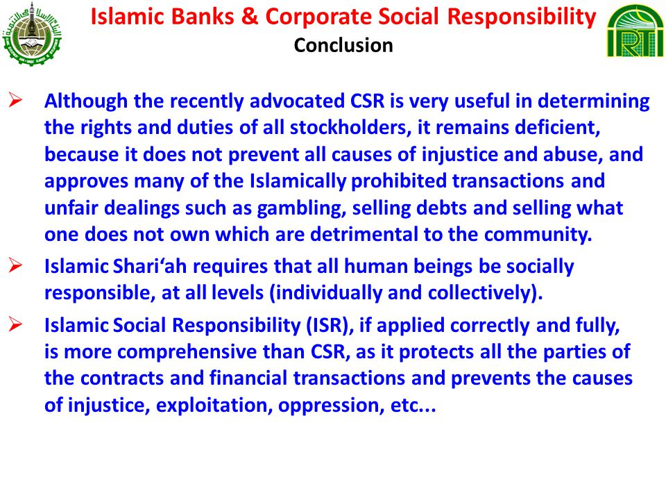 Islamic Banks & Corporate Social Responsibility Conclusion