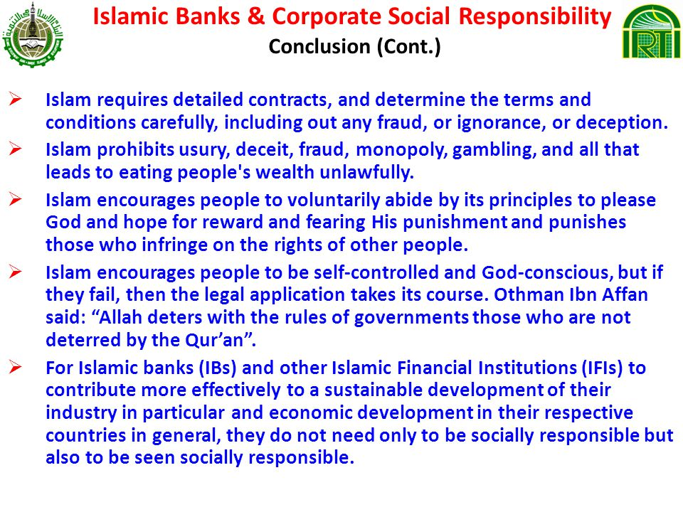 Islamic Banks & Corporate Social Responsibility Conclusion (Cont.)