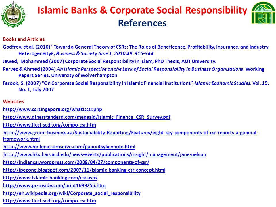 Islamic Banks & Corporate Social Responsibility References