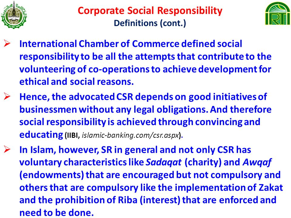 Corporate Social Responsibility Definitions (cont.)