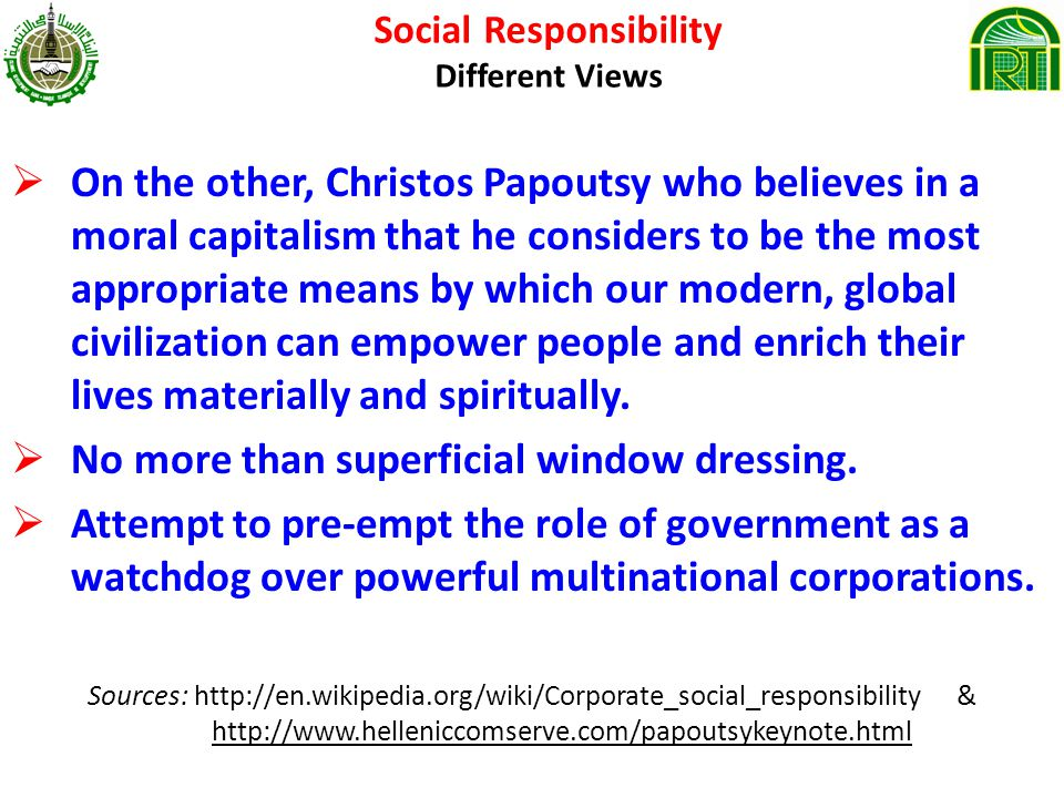Social Responsibility Different Views