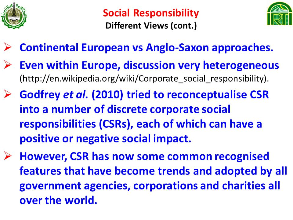 Social Responsibility Different Views (cont.)